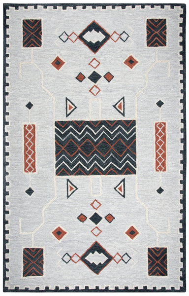 Rizzy Home Area Rugs Mesa Area Rugs MZ158B Grey Wool Southwest Design in 3 Sizes
