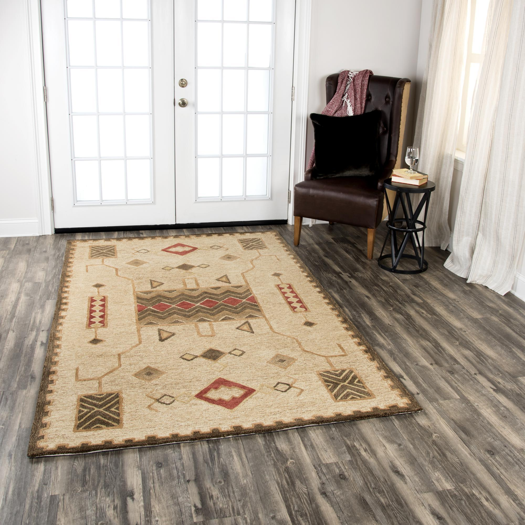 Rizzy Home Area Rugs Mesa Area Rugs MZ159B Gold Wool Southwest Design in 3 Sizes