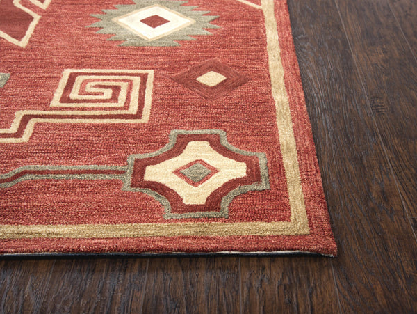 Rizzy Home Area Rugs Mesa Area Rugs MZ160B Red Wool Southwest Design in 3 Sizes