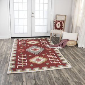 Rizzy Home Area Rugs Mesa Area Rugs MZ161B Red Wool Southwest Design in 3 Sizes