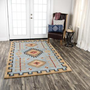Rizzy Home Area Rugs Mesa Area Rugs MZ162B Blue Wool Southwest Design in 3 Sizes