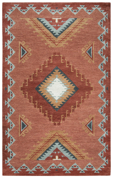 Rizzy Home Area Rugs Mesa Area Rugs MZ163B Red Wool Southwest Design in 3 Sizes
