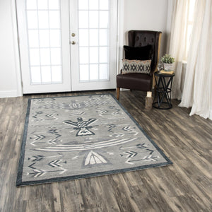 Rizzy Home Area Rugs Mesa Area Rugs MZ164B Grey Wool Southwest Design in 3 Sizes