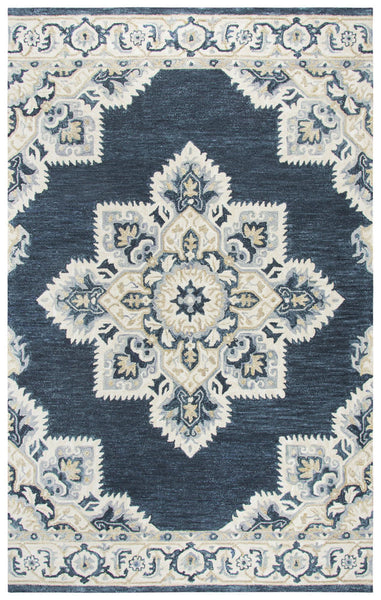 Rizzy Home Area Rugs Resonant Area Rugs RS070B Dark Blue Wool hand Tufted