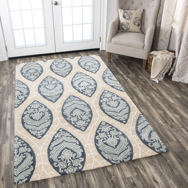 Rizzy Home Area Rugs Resonant Area Rugs RS773A Tan-Blue Wool Hand Tufted 5 Sizes