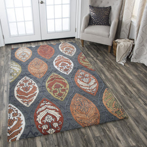 Rizzy Home Area Rugs Resonant Area Rugs RS775A Gray-Multi Wool Hand Tufted 5 Sizes