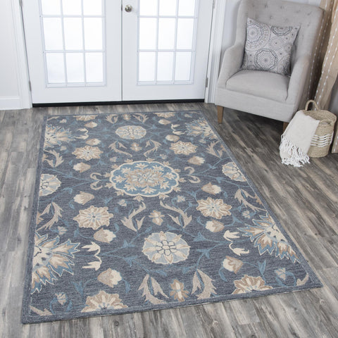 Rizzy Home Area Rugs Resonant Area Rugs RS912A Gray Wool Hand Tufted 5 Sizes