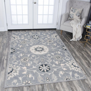 Rizzy Home Area Rugs Resonant Area Rugs RS915A Gray Wool Hand Tufted 5 Sizes
