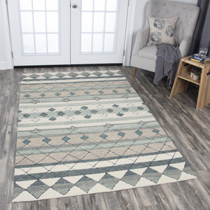 Rizzy Home Area Rugs Resonant Area Rugs RS925A Gray Wool Hand Tufted 5 Sizes
