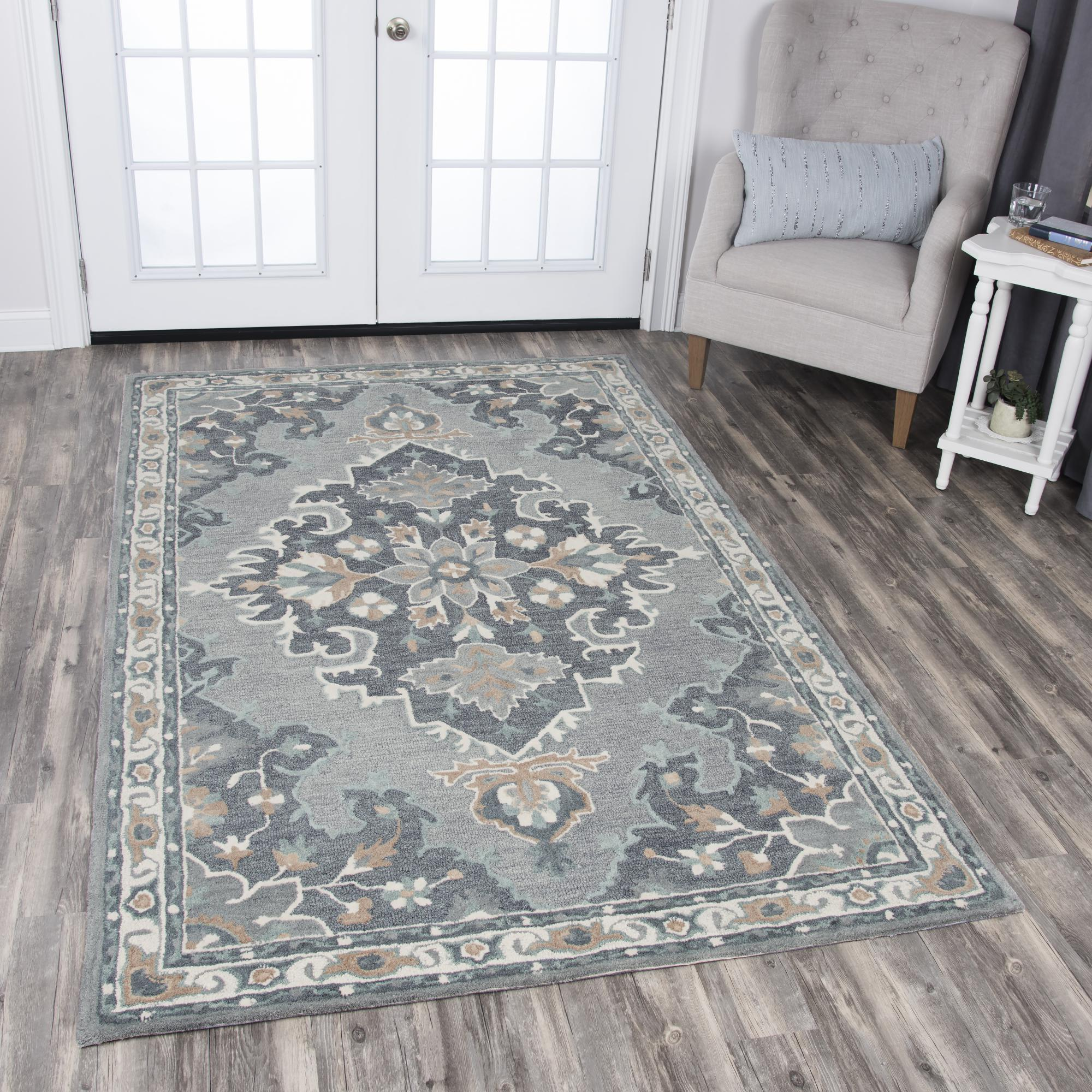 Rizzy Home Area Rugs Resonant Area Rugs RS933A Gray Wool Hand Tufted 5 Sizes