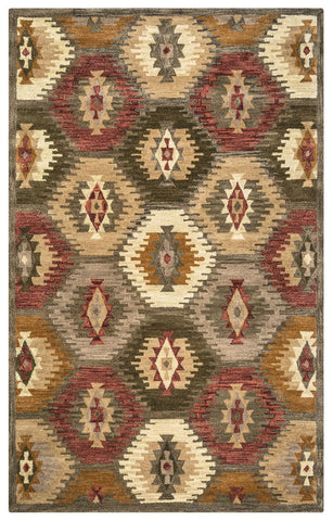 Rizzy Home Area Rugs Southwest Area Rugs SU-8152 Green Multi Hand Tufted 100% Wool From India
