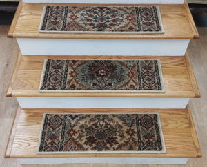 Rizzy Stair Treads Stair Tread Beige Panel 26in x 9in Set of 13 With Non Slip Pads
