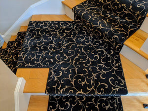 Rug Depot Home La Scala Black Stair Runner CBB2-0006A Custom Cut For Stairs