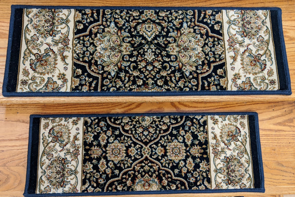 Rug Depot Home Stair Treads Navy 26in x 9in with Landing Rug