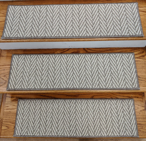 Rug Depot Home Stair Treads Plaza Taupe Herringbone 26in x 9in Made in USA
