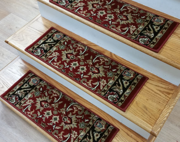 StairTreadsUSA Stair Treads Stair Tread Ankara Red 26inx 9in Set of 14 Pcs With Non Slip Pad Attached