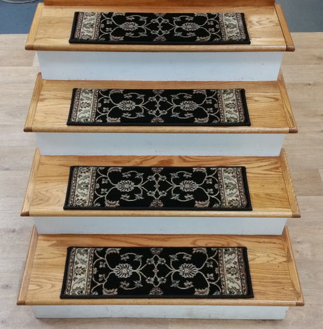 StairTreadsUSA Stair Treads Stair Tread Valbella Black Allover 26in x 8in Set of 14 Pcs With Non Slip Pads