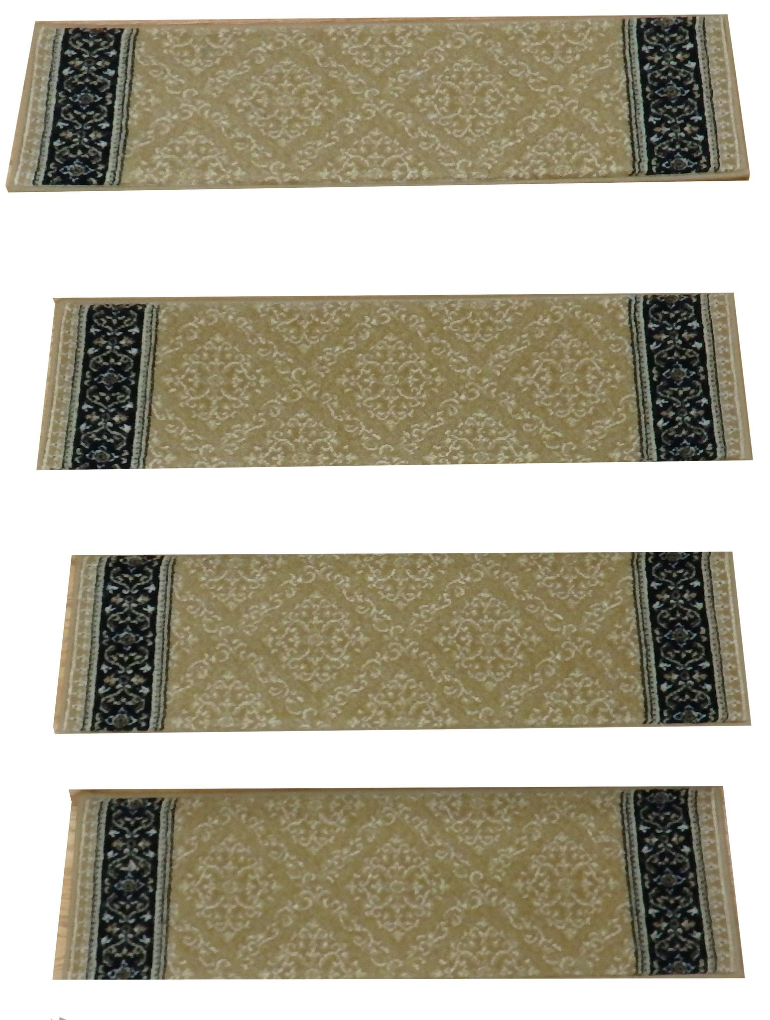 StairTreadsUSA Stair Treads Stair Treads Gold-Black 31in x 9in Wool Set Of 14 Non Slip Pads Attached
