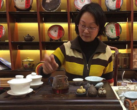 Learning the finer points of brewing Chinese fermented tea at The Tianshan Tea City, Shanghai