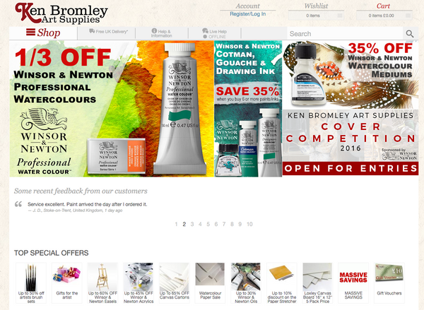 Buy your art materials online with Ken Bromley Art Supplies