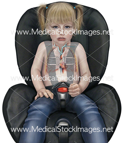 Child in Car Seat with Buckle Over the Heart