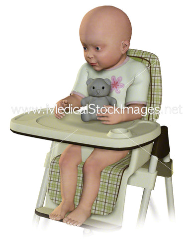 Child of 5 months sat in a high chair.