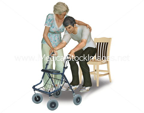 Nurse Supporting Elderly Patient from Chair to Walking Frame