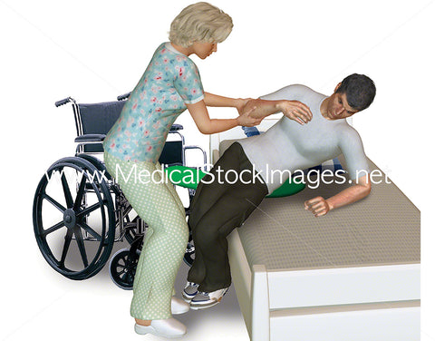 Elderly Patient Being Assisted from Wheelchair into Bed - Pack of 2 Images in the Sequence