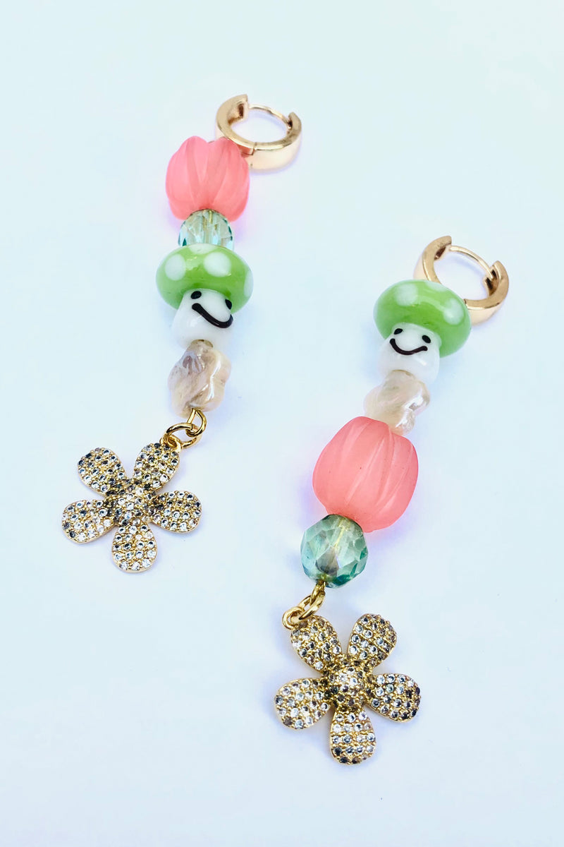 SHROOM CHILD PEACH PEACE P.L.U.R. EARRINGS