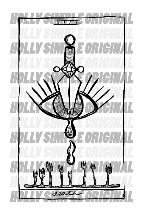 13. DEATH : HOLLY SIMPLE TAROT ORIGINAL INK DRAWING