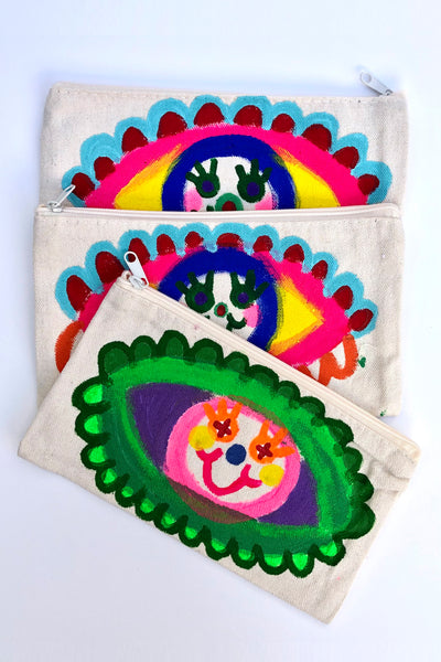DIPSY DOODLE  HAND PAINTED ZIPPER STASH BAG by 1-800-FASHIN