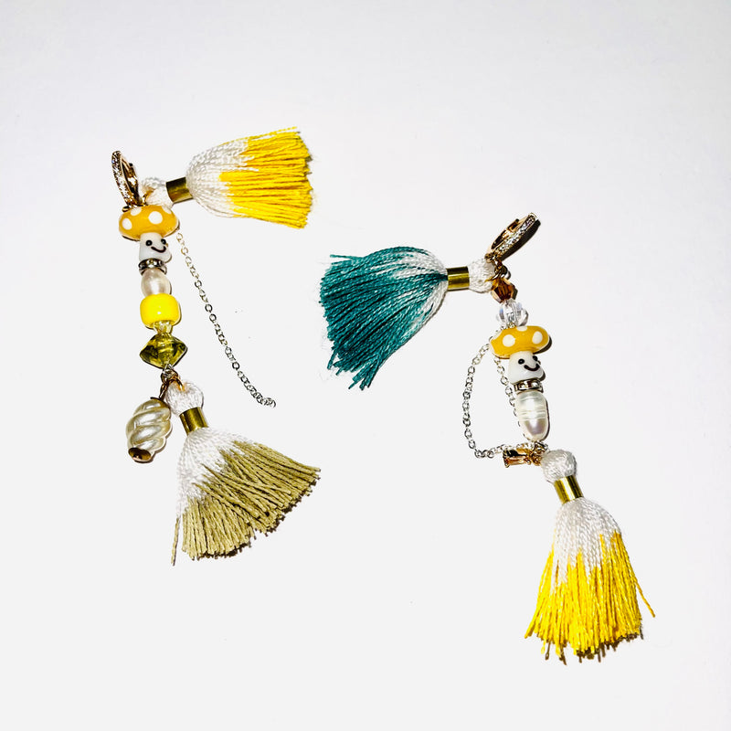 TRASHÉ SHROOM + TASSEL EARRINGS