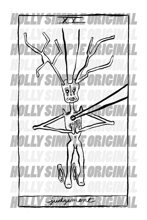 20. JUDGEMENT : HOLLY SIMPLE TAROT ORIGINAL INK DRAWING
