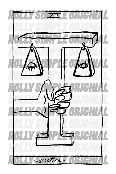 11. JUSTICE : HOLLY SIMPLE TAROT ORIGINAL INK DRAWING