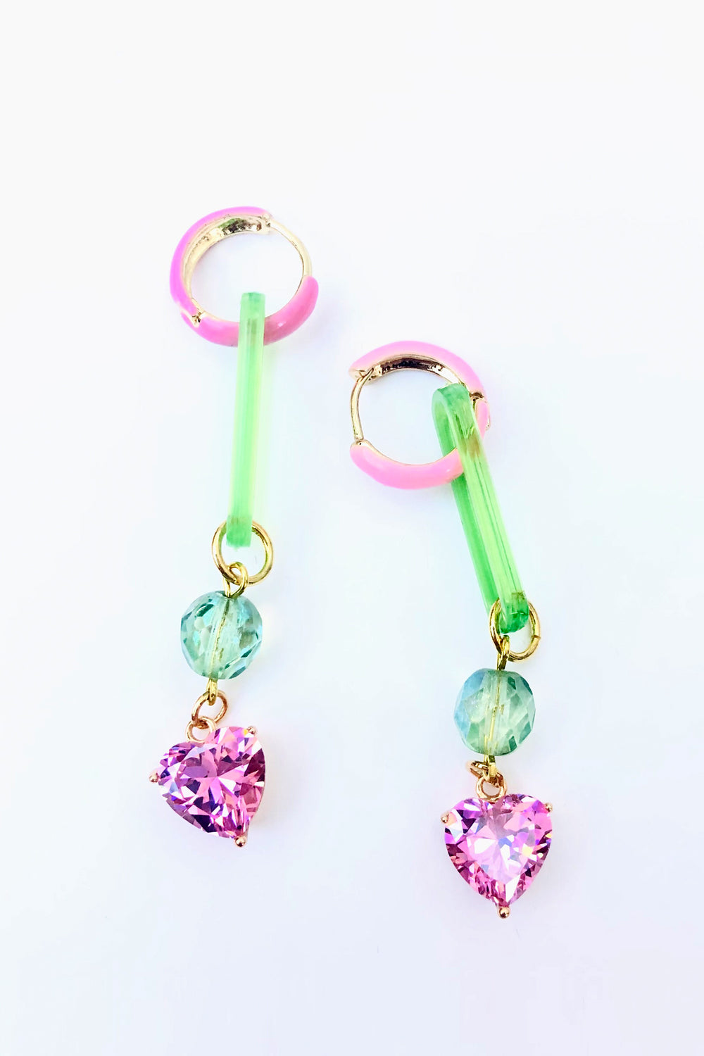 PINK HEART AND MINT GREEN P.L.U.R. EARRINGS