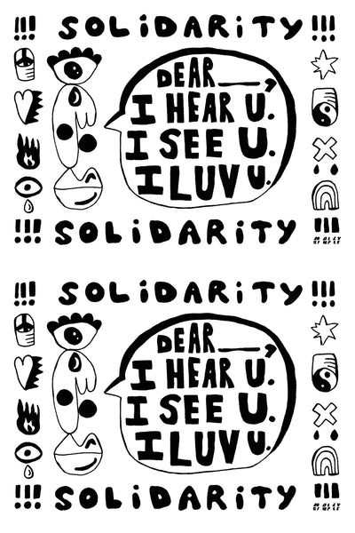 HAND PAINTED SOLIDARITY POSTCARD : 100% PROCEEDS TO BLM FUNDRAISING