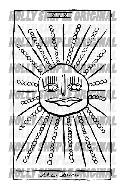 19. THE SUN : HOLLY SIMPLE TAROT ORIGINAL INK DRAWING