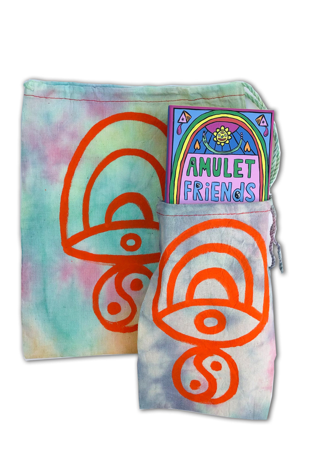 TIE DYE DRAWSTRING BAG - ORANGE