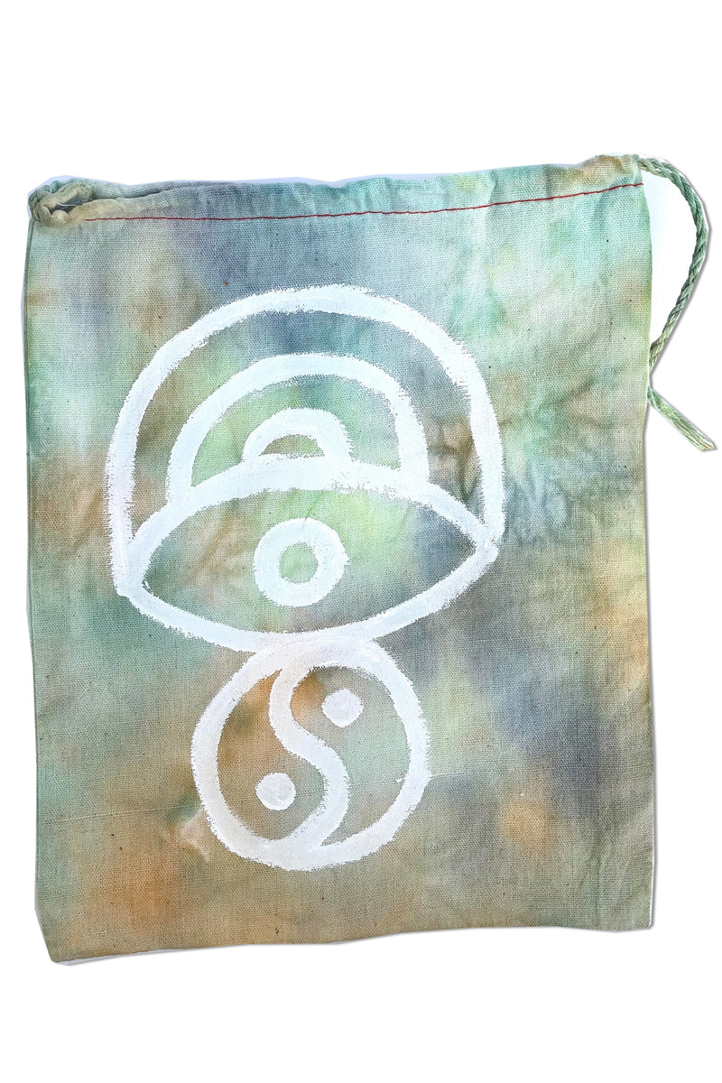 TIE DYE DRAWSTRING BAG - WHITE (LARGE)