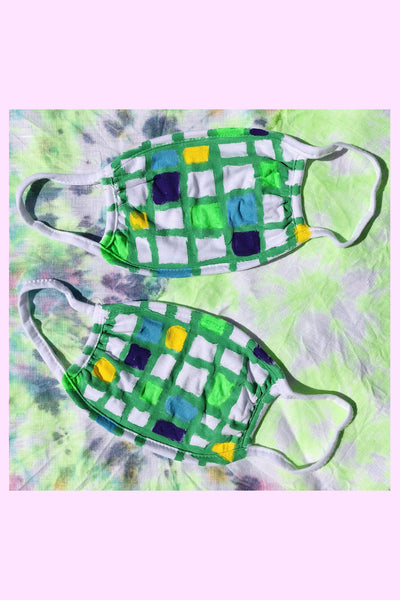 HAND PAINTED COTTON MASK : 90'S CHECKERBOARD