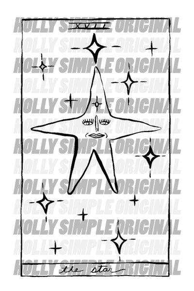 17. THE STAR : HOLLY SIMPLE TAROT ORIGINAL INK DRAWING