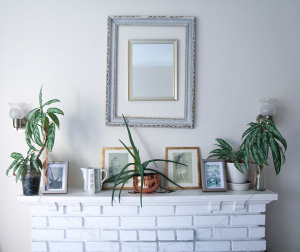 White Fire Place with plants and pictures at home with Roslyn Gobe