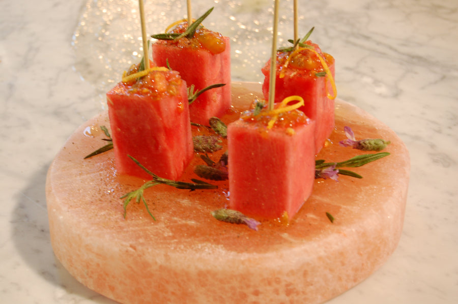 Organic Watermelon Skewers on Himalayan Salt Plate