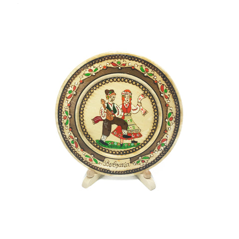 Handmade Wooden Plate with Traditional Bulgarian Engravings