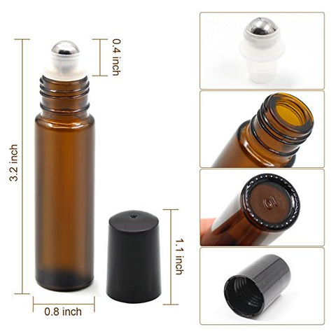 10 ml Amber Glass Bottles Roll On