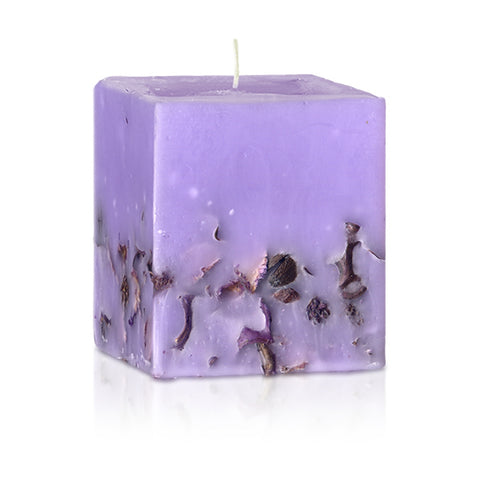 candle with lavender essential oil