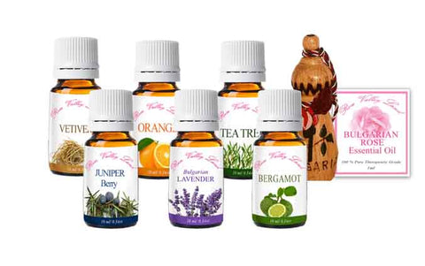 Pure therapeutic grade beginers set of essential oils, content the most popular and powerful essential oils in aromatherapy and perfumery. where to buy Bulgarian lavender oil, benefits of using Bulgarian rose oil, how to use Bulgarian rose oil