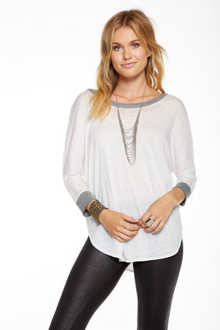 Blocked Jersey Scoop Back 3/4 Sleeve Shirttail Dolman Tee