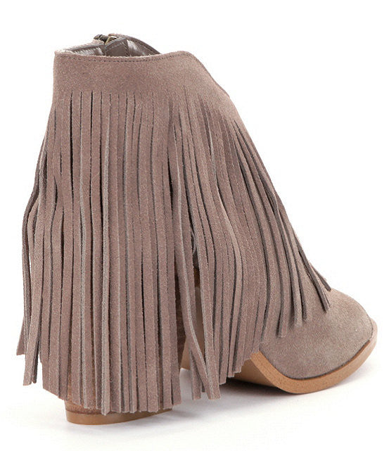 Rock-It Peep-Toe Fringe Booties By Steve Madden