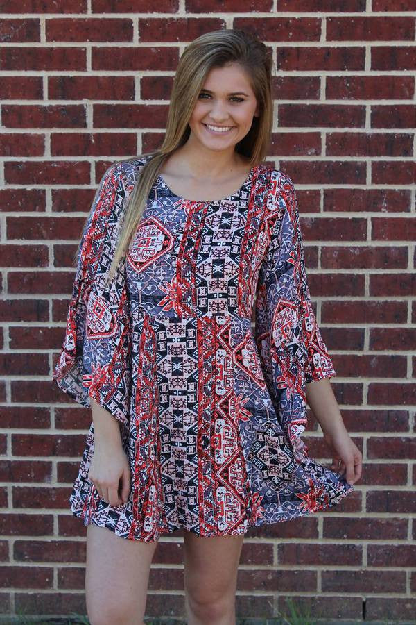 Multi Red Print Dress - Mink Pink